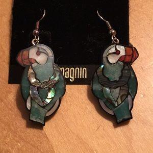 🌸Toucan mosaic resin inlay dangle earrings 🌸